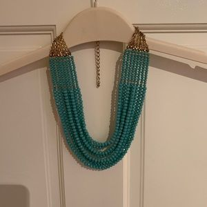 Anthro turquoise multistrand statement necklace
